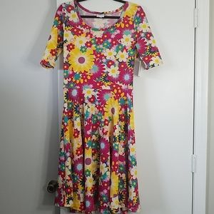 LuLaRoe Bright Floral Nicole Dress NWT
